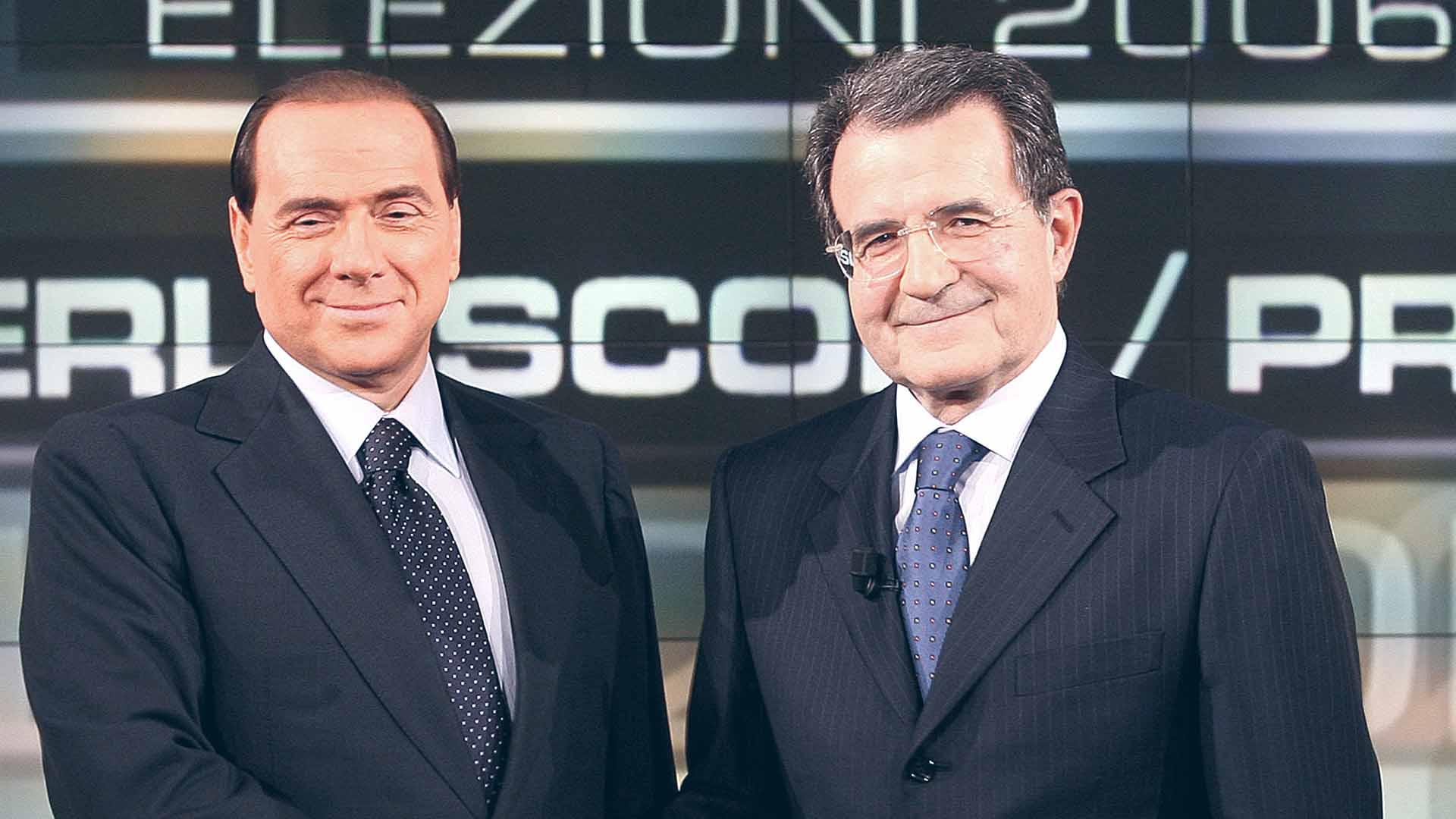 Berlusconi e Prodi si affrontarono due volte nel 2006, moderati da Clemente Mimun