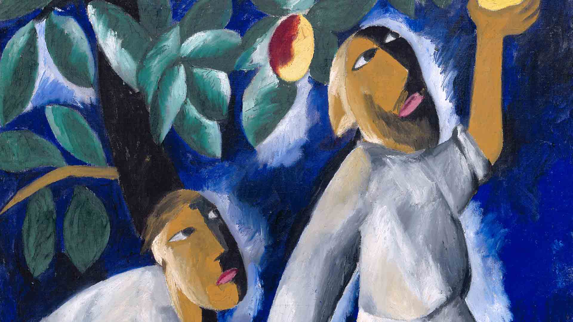 Contadini che raccolgono le mele è uno dei famosi quadri di Natalia Goncharova