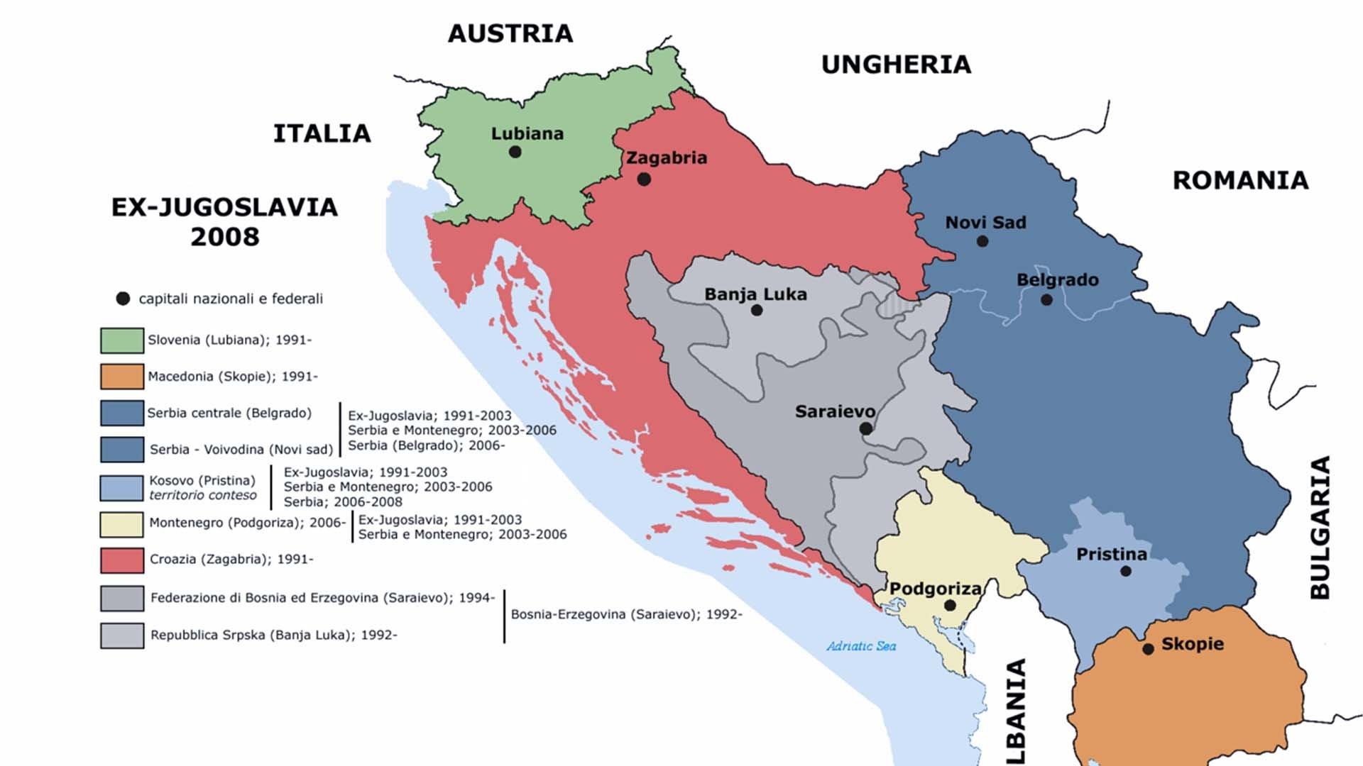 La cartina della Jugoslavia
