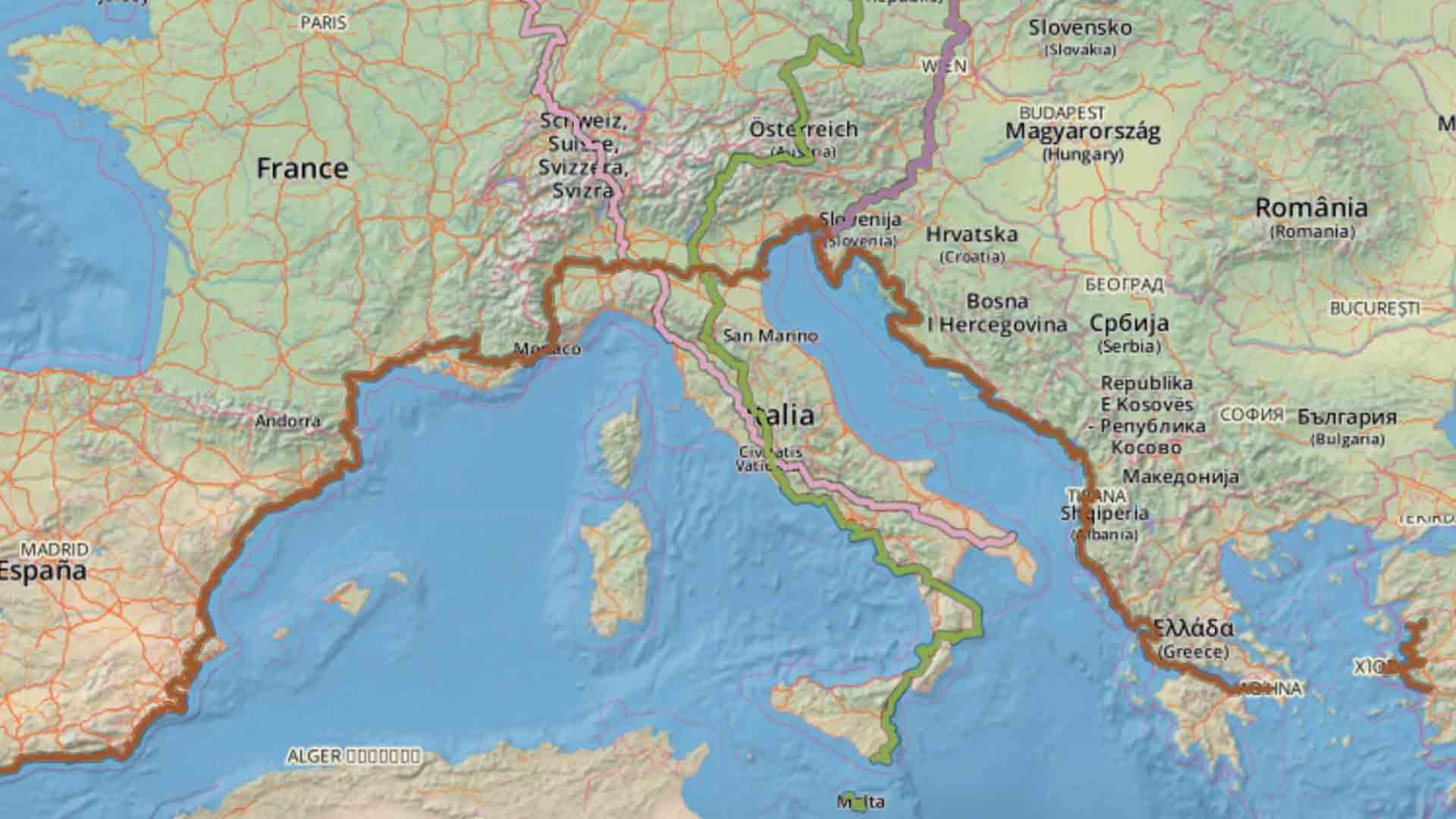 I percorsi Eurovelo in Italia
