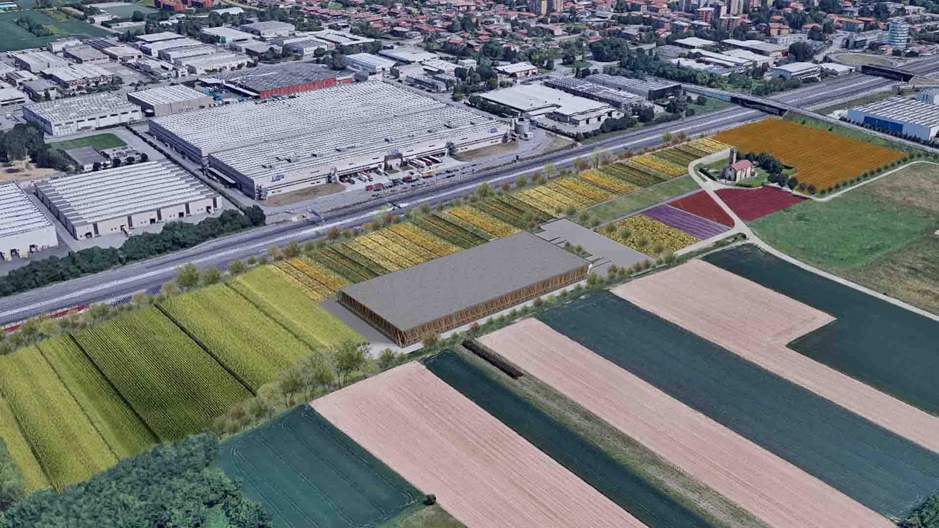 Lo stabilimento di Planet Farms a Cavenago, Milano, che rispetta l